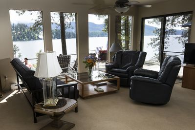 Living room offers a 180 degree lake view