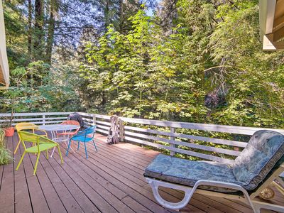 Photo for Riverfront Cottage in Redwoods w/ Decks + Beach!