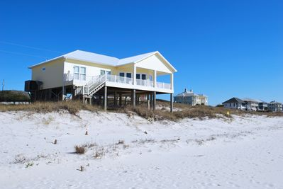 View of Mainstay Cottage from the beach