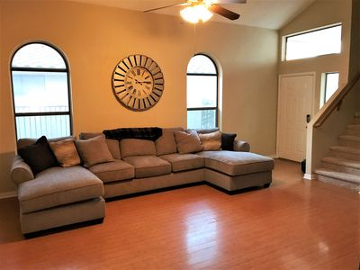 Vaulted ceiling with a spacious, yet cozy, living room.
