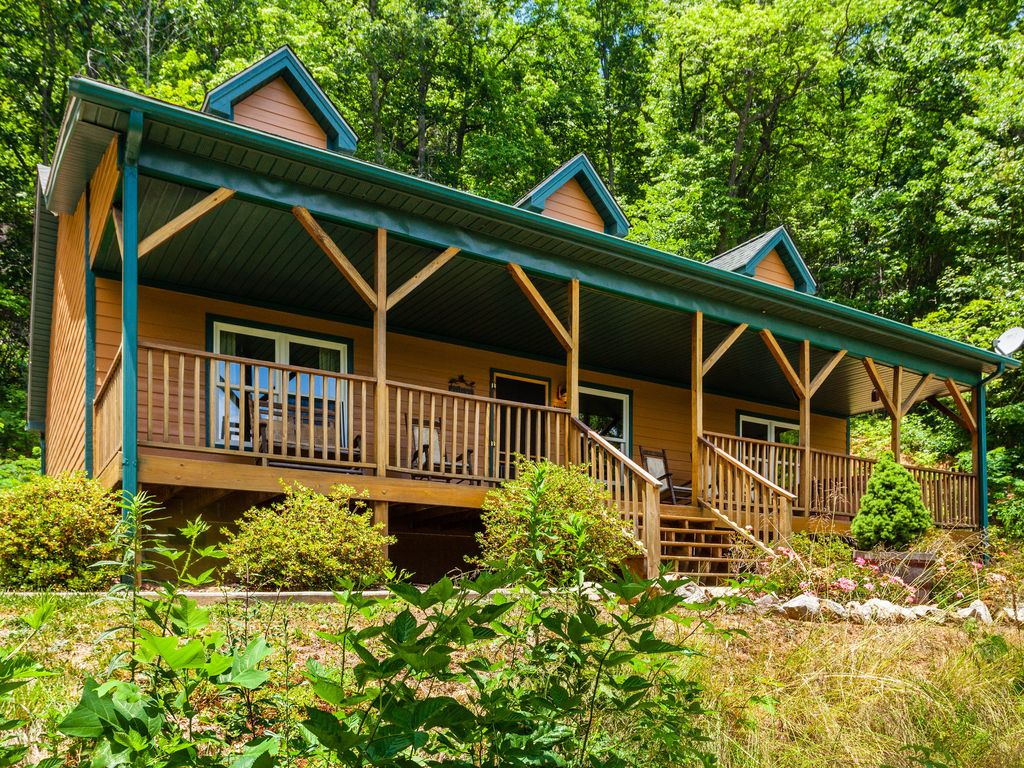 Near asheville amazing mountain views with privacy a hot for Asheville cabin rentals pet friendly