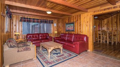 """Photo for Whispering Pine Cabins """"Willard"""" - Hot Tub - Fireplace - Fire table -Upper Canyon"""