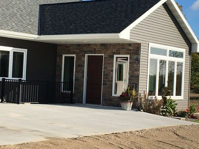 Front of the house with keyless entry into the sun room.