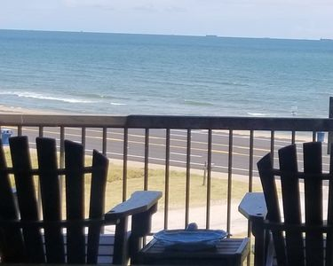 Your actual view from the kitchen & den.  Feel that cool ocean breeze! This condo is close to all the fun things to do in Galveston.  Located a few blocks in front of Moody Gardens and Schlitt