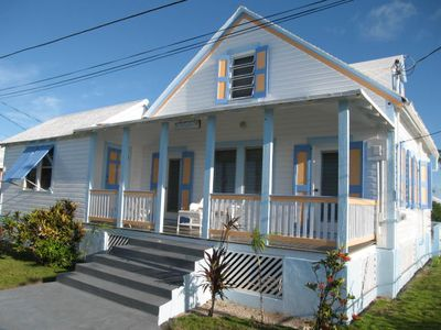 Front entrance - charming, historic 'By the Seashore' . Nice ocean views.