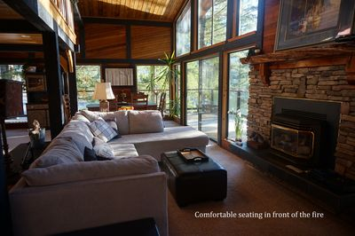 Comfortable seating in front of the fire