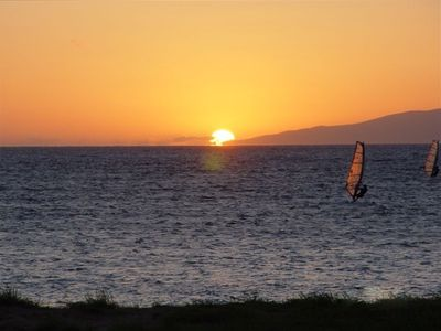 Sail boarders at sunset from Maui Sunset
