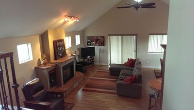 Combined Living/Dining/Kitchen is spacious yet cozy and inviting. Relax & enjoy!