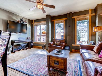 Photo for BOOK EARLY FOR NEXT WINTER.  Walk to Town Lift from this beautiful, clean and cozy condo with a mountain flair.  High end finishes, huge TV.  Located in the heart of Historic Park City Main Street.  Don't miss this one!