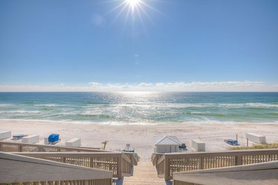 Just steps away from the sugar white sands of the Gulf Coast