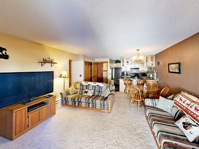 """Living Room - Welcome to Winter Park! Comfy living area with two couches and 55"""" flat screen TV."""