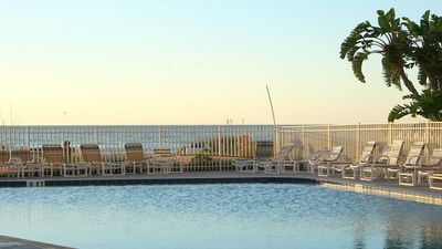 One of the largest outdoor pools, conveniently lies along the beach...