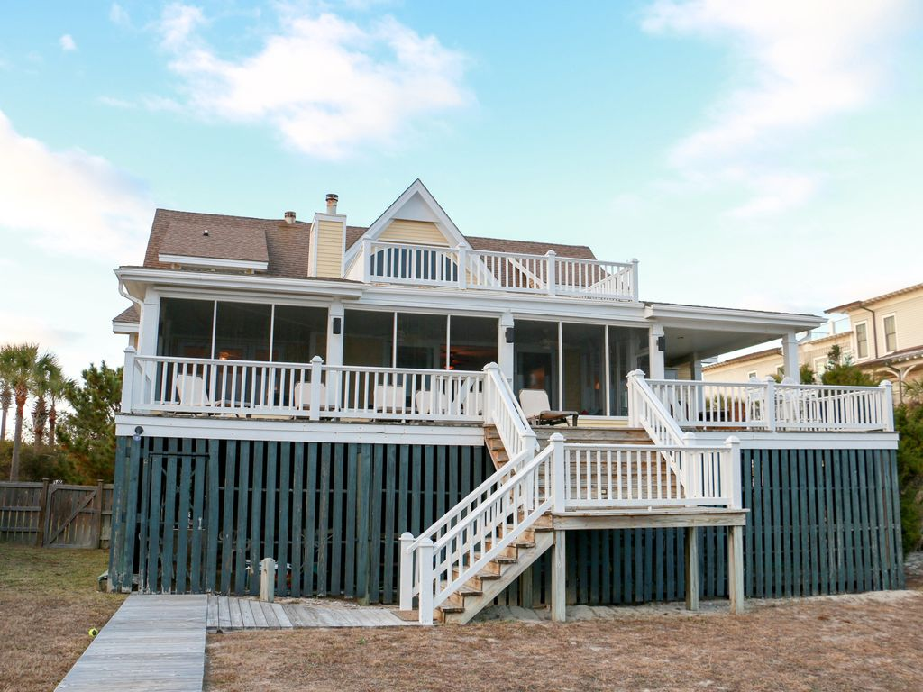 Beach house on isle of palms ocean front boardwalk to for Beach house elevator