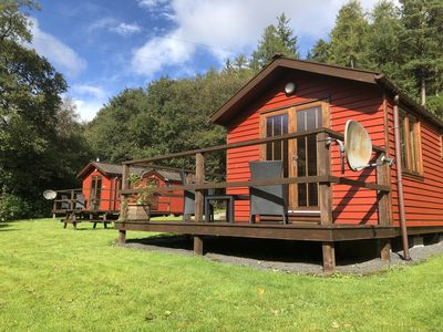Photo for Lovely Riverside Lodge for two, by romantic Pucks Glen in the Argyll Forest Park