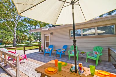 Welcome to Livin' the Dream! Deck is a great place to enjoy Mermaid Morning Bliss coffee or evening cocktails!