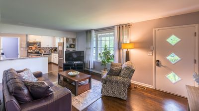 Enjoy the serene and relaxing view of the neighborhood from the living room.