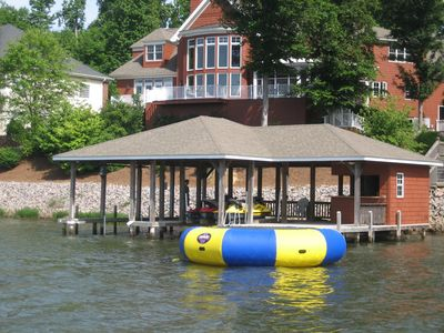 Double slip boat house and 15' water bouncer in deep water!