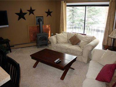 Photo for Comfortable Condo, 1 Mile to Main Street, with BBQ and Gas Fireplace!