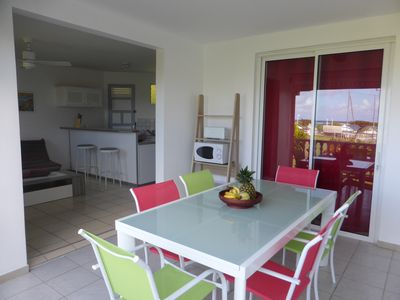 Photo for Apartment F2 fully equipped sea view, 150m from the beach in tropical garden