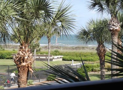 Beautiful view out to the beach from the deck!
