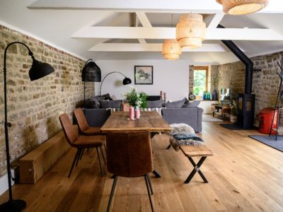 Photo for Sussex barn with games room and natural swimming pond.