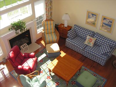 Overlook from loft: Sunny Two-story family room FP and Smart TV/recliners