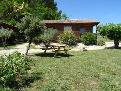 Photo for Charming air-conditioned chalet with pool for 6 people ideal, 8 possible