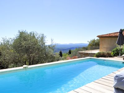Photo for On the heights of Vence, panoramic sea view, heated pool, comfort, calm