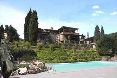 view of the villa from the pool