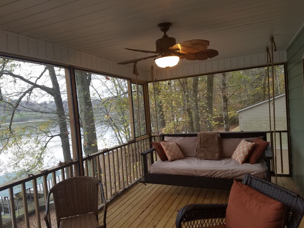 Screened in porch view of river The