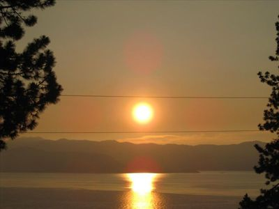 Imagine watching the sun rise over Lake Tahoe while eating breakfast on our deck
