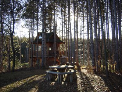 Photo for Tree House getaway with swimming, 18km of Hiking, r and MTN Biking Trails.