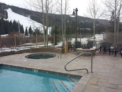 View from Pool, 2 hot tubs, firepit, Grill