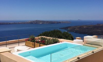 Photo for Superb Fira Villa Santorini, 4 Bedrooms, 4 Bathrooms, Up to 8 Guests, with a Spectacular View of the Caldera and the Volcano !