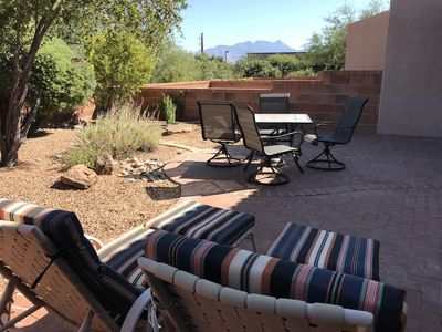 New patio table/chairs and lounge cushions - bring your favorite book.