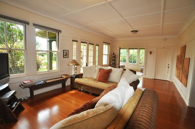 Comfy Living room with beautiful wood floors.