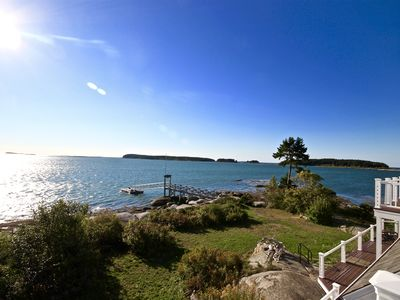 Photo for Oceanfront property with wharf, dock and private sandy beach - stunning views