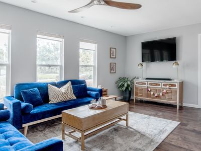 Photo for Lounge on Blue Velvet Couches at a Charming Hideaway