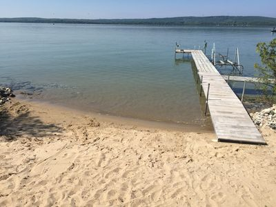 Sandy beach and water with gentle slope (lots of sand toys) lots of room