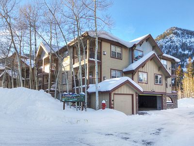 Photo for Lodge at Riverbend, Just off the Creek, walking distance to Main St. with Common Hot Tub and Covered Parking