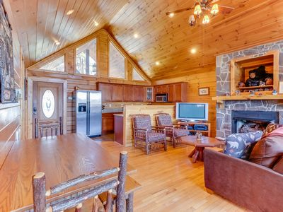Photo for Log cabin with mountain views, deck & hot tub - close to Bryson City!
