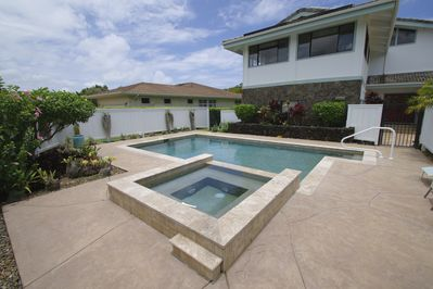 Private Heated Pool and Spa located within fenced area for privacy and safety.