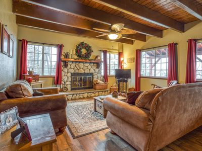 Photo for Cozy cabin w/ a fireplace, full kitchen, deck, & mountain views!