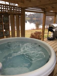 Beautiful views of the water while relaxing in the 4-person hot tub!