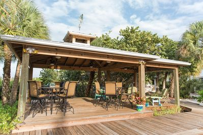 Gazebo with tables and fully equipped outdoor kitchen with grill (gas included)