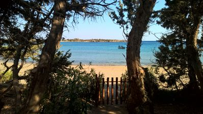 Access to the beach from the villa.Access on the preserved bay of Grammeno.