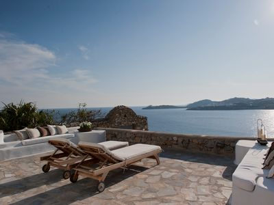 Photo for Villa Casa, Beach Front Villa Mykonos Island 4 Bedrooms 4 Bathrooms in Ornos up to 9 Guests. The Beach is 50 meters away