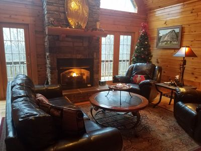 Open Great Room with a gas fireplace