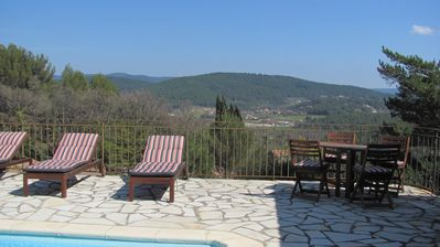 Photo for Family friendly villa with fantastic views and heated pool.