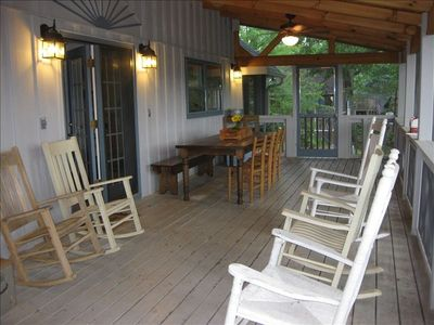 Screened Deck with Great View of Lake and Mountains for Relaxing and Eating